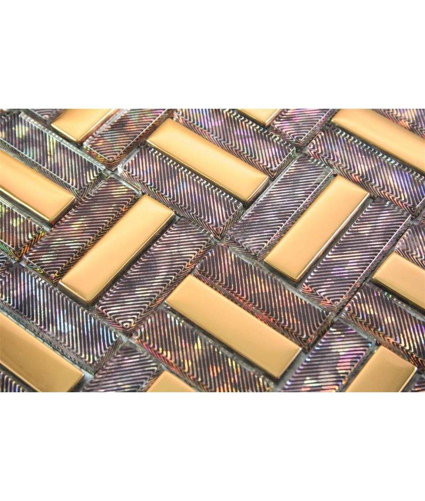 GLASMOSAIK FLIESEN - Sao Paulo - braun / lila / gold