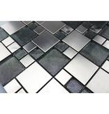 MOSAIKFLIESEN - Valparaiso - Glas / Edelstahl / - grau / silber