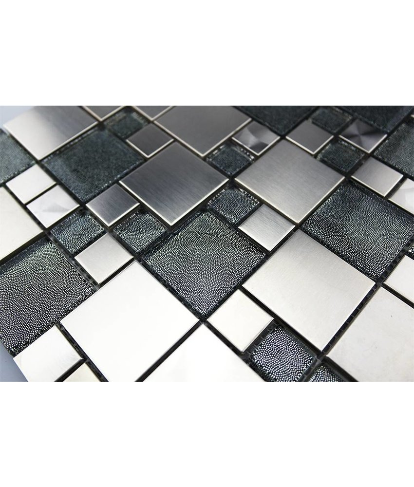 MOSAIKFLIESEN - Valparaiso - Glas / Edelstahl / grau / silber