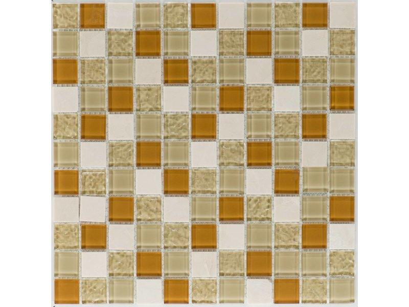 Mosaik Glas & Marmor Sevilla Creme Beige Wave - 30 cm x 30 cm