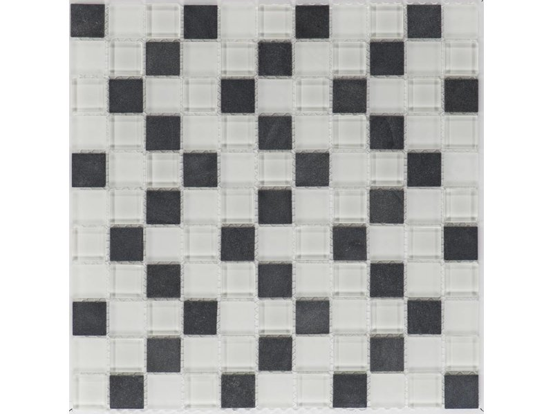 Mosaik Glas & Naturstein Modena Schwarz Weiß - 30 cm x 30 cm