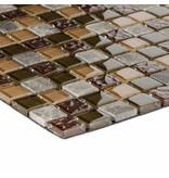 Mosaik Glas & Naturstein Smart Brown - Selbstklebend - 30 cm x 30 cm