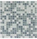 Mosaik Glas & Marmor Weiß Blau - 30,5 cm x 30,5 cm