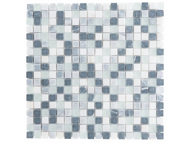 Mosaik Glas & Marmor Schwarz Weiß Grau - 30 cm x 30 cm