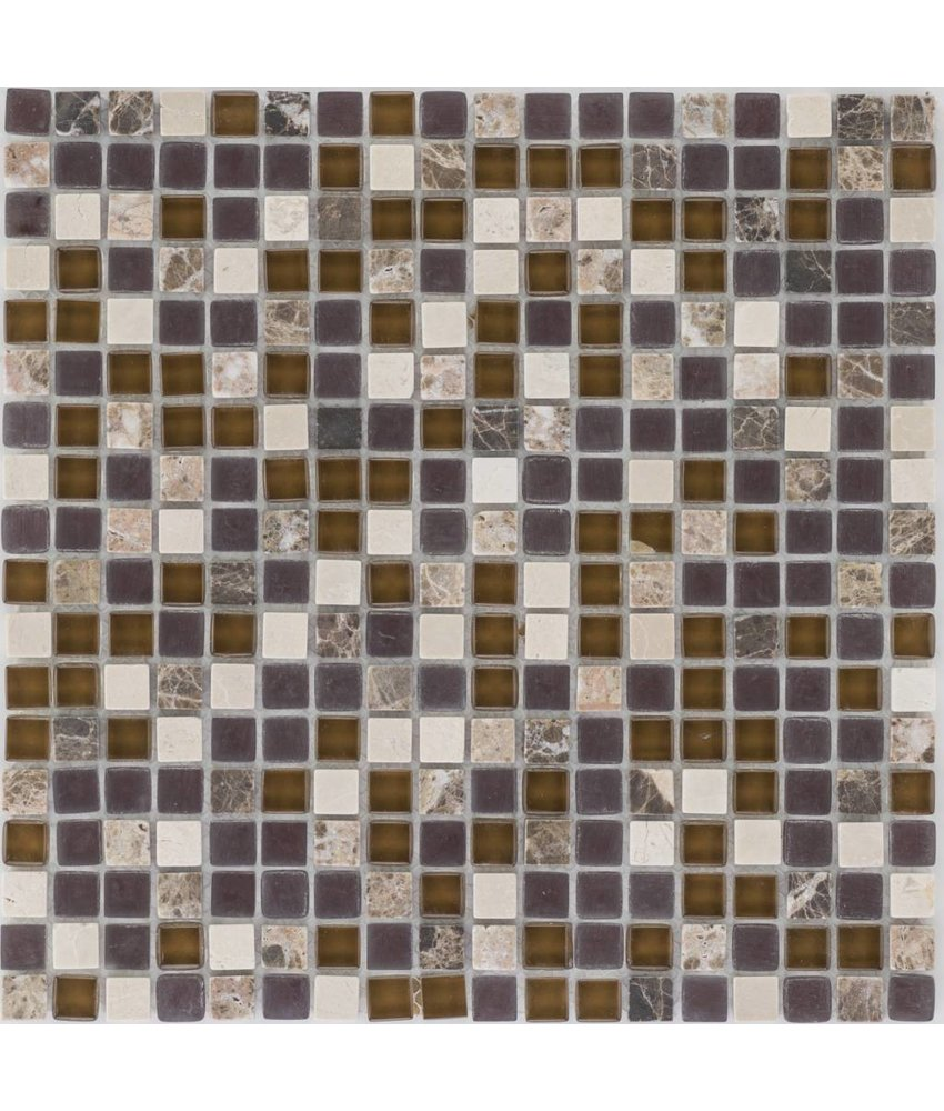 Mosaik Glas & Marmor Java Beige Braun - 30,5 cm x 30,5 cm