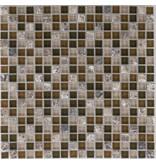 Mosaik Glas & Marmor Java Hellbraun Dunkelbraun - 30,5 cm x 30,5 cm