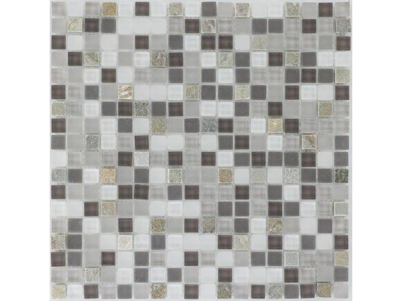 Mosaik Glas & Quarzit Black Grey White - 30 cm x 30 cm