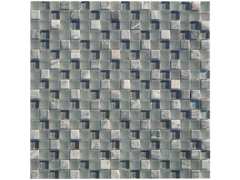 Mosaik Glas & Marmor Thaiti Grau - 30 cm x 30 cm