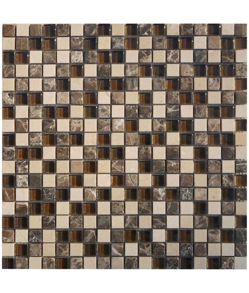Mosaik Glas & Marmor Solaris Beige Braun - 30 cm x 30 cm