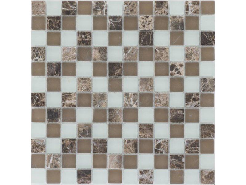 Mosaik Glas & Marmor Java Braun Weiß - 30 cm x 30 cm