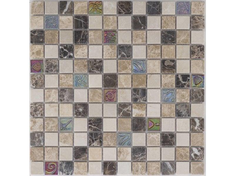 Mosaik Glas & Marmor Beige Braun - 30 cm x 30 cm