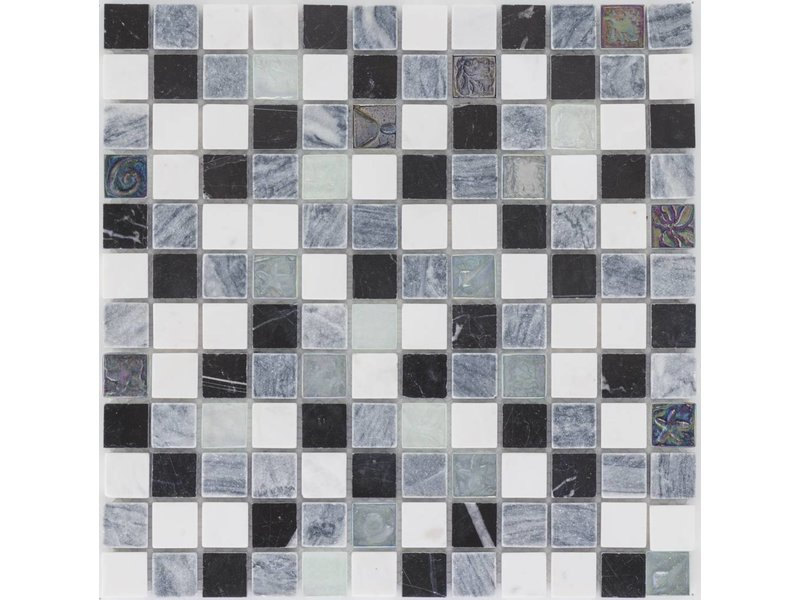 Mosaik Glas & Marmor Schwarz Grau Weiß - 30 cm x 30 cm