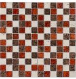 Mosaik Glas & Marmor Metalica Crema Rot Braun - 30 cm x 30 cm