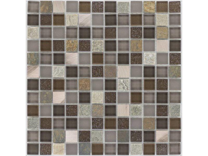 Mosaik Glas & Naturstein & Kupfer Braun Grau - 30 cm x 30 cm