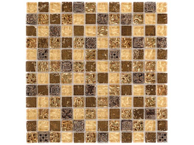 Mosaik Glas & Naturstein Maya Gold - 30 cm x 30 cm