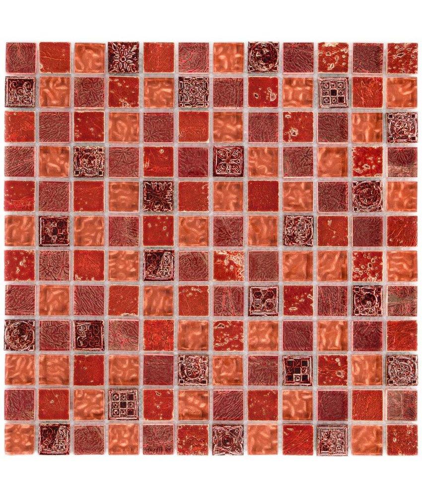 Mosaik Glas & Naturstein Maya Red- 30 cm x 30 cm