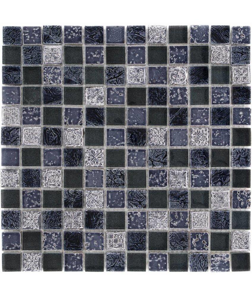 Mosaik Glas & Naturstein Maya Blue - 30 cm x 30 cm