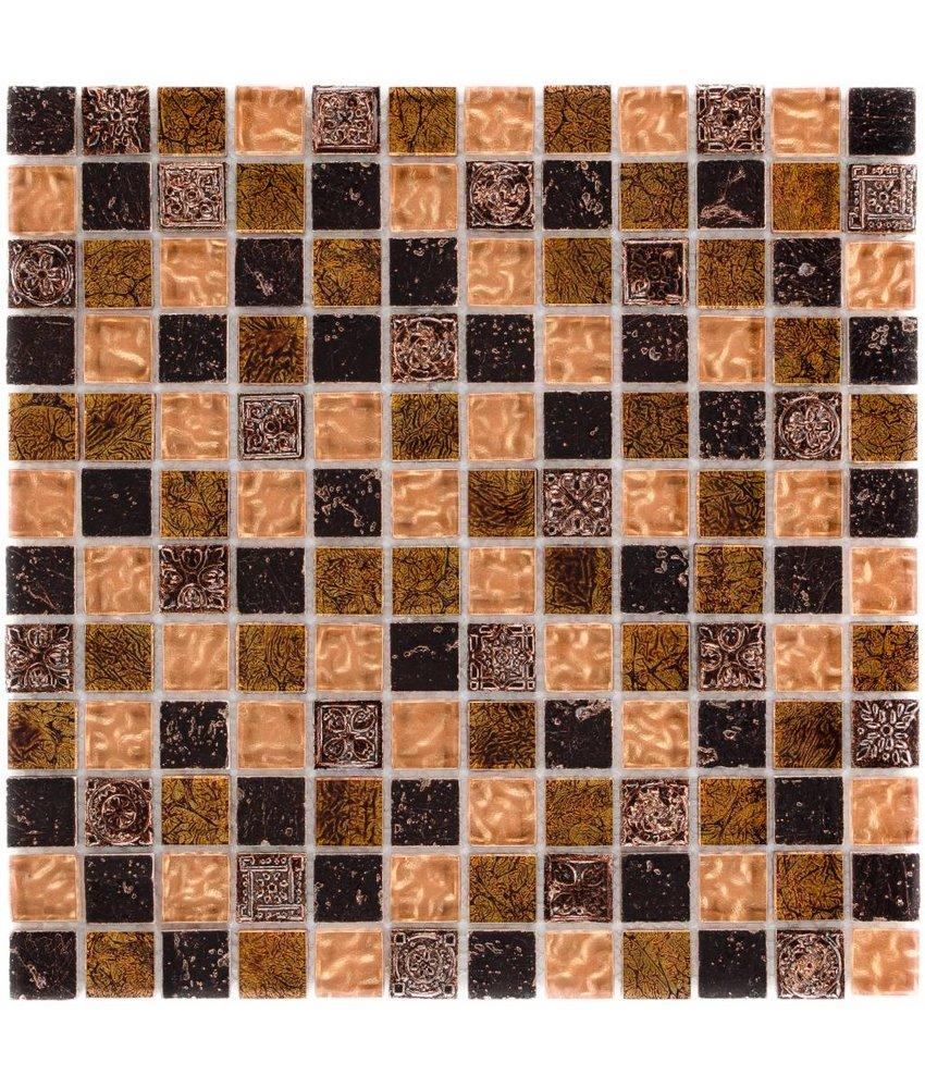 Mosaik Glas & Naturstein Maya Brown - 30 cm x 30 cm