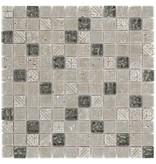Mosaik Glas & Naturstein Maya Silver - 30 cm x 30 cm