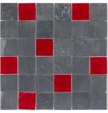 Mosaik Glas & Naturstein Lava Anthrazit Rot - 30 cm x 30 cm