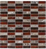 Mosaik Glas & Marmor Metalica Marron Rot Braun - 30 cm x 30 cm