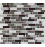 Mosaik Glas & Marmor  Violett Braun Grau Weiß  - 30 cm x 30 cm