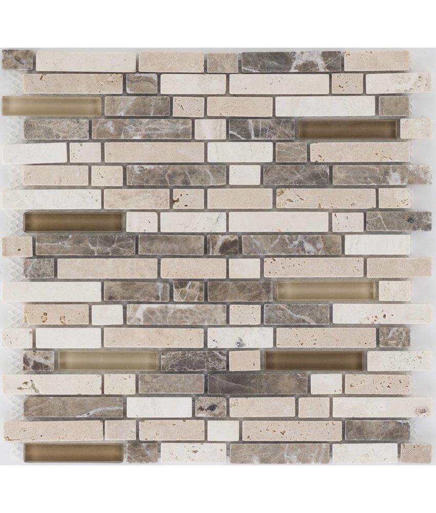 Mosaik Glas & Marmor  Marron Travertin Crema Braun - 30 cm x 30 cm