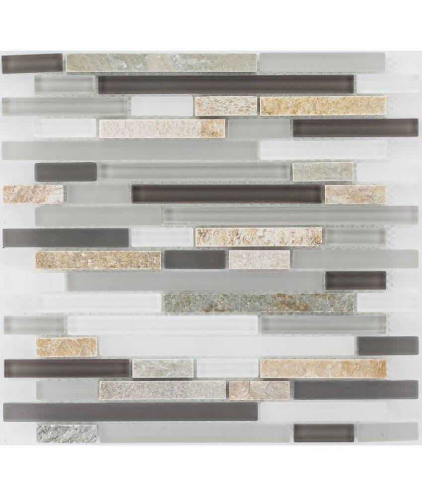 Mosaik Glas & Marmor  Beige Braun Grau Weiß - 30 cm x 30 cm