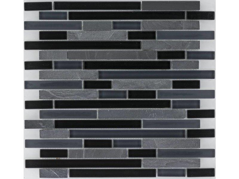 Mosaik Glas & Marmor  Schwarz - 30 cm x 30 cm