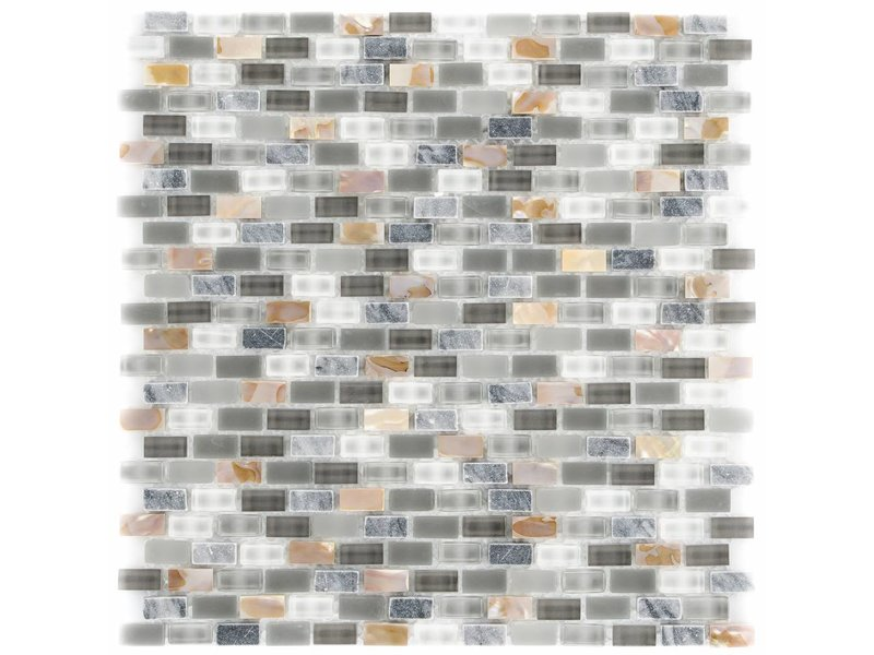 Mosaik Glas & Marmor 5th Avenue Grey Mix Seashell - 30 cm x 30 cm