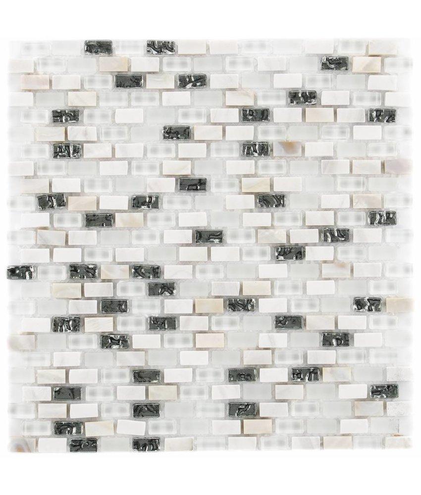 Mosaik Glas & Marmor 5th Avenue White Mix Seashell - 30 cm x 30 cm