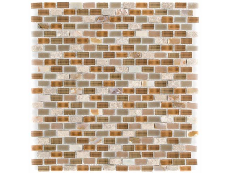 Mosaik Glas & Marmor 5th Avenue Brown Mix Seashell - 30 cm x 30 cm