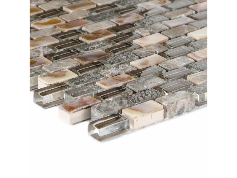 Mosaik Glas & Marmor 5th Avenue Dark Brown Mix Seashell - 30 cm x 30 cm