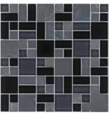 Mosaik Glas & Marmor Schiefer Graphit Schwarz 30 x 30 cm