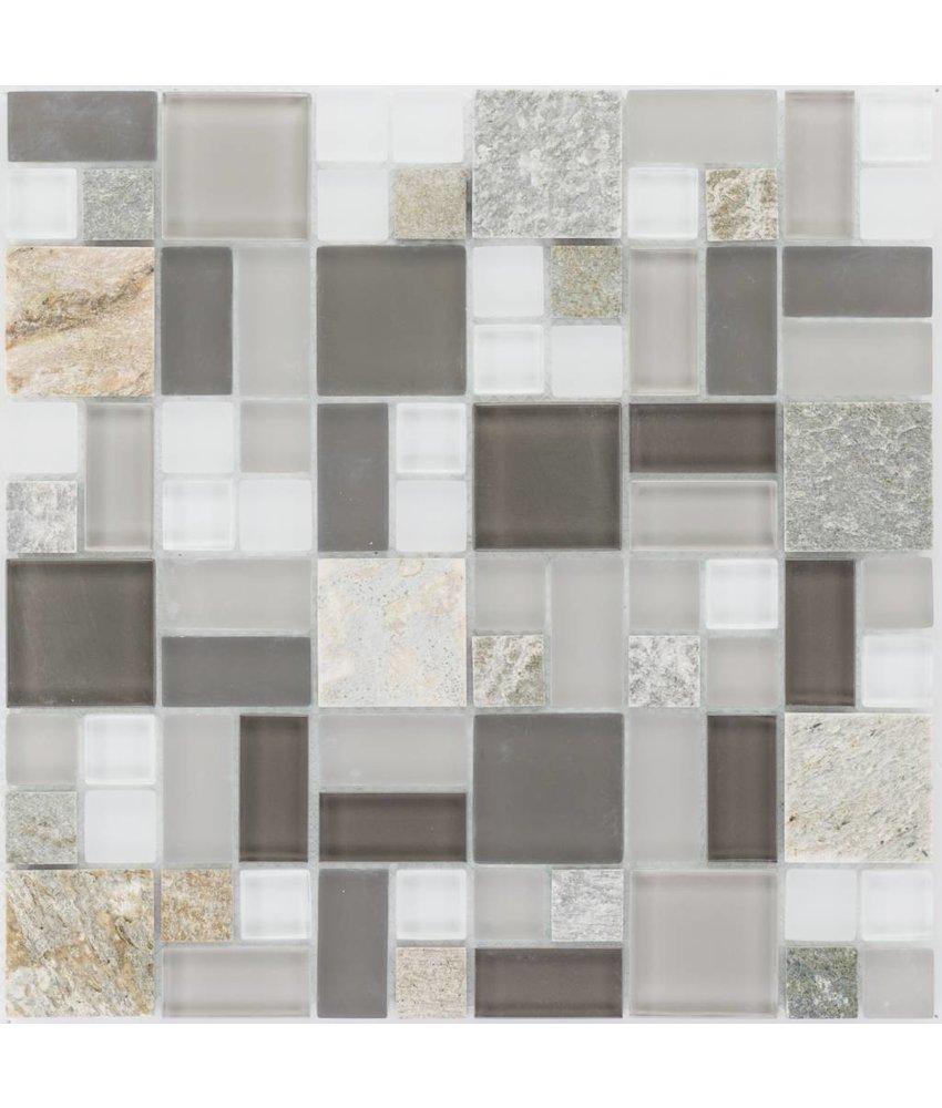 Mosaik Glas & Marmor  Quarzit Braun Grau Weiß 30 x 30 cm