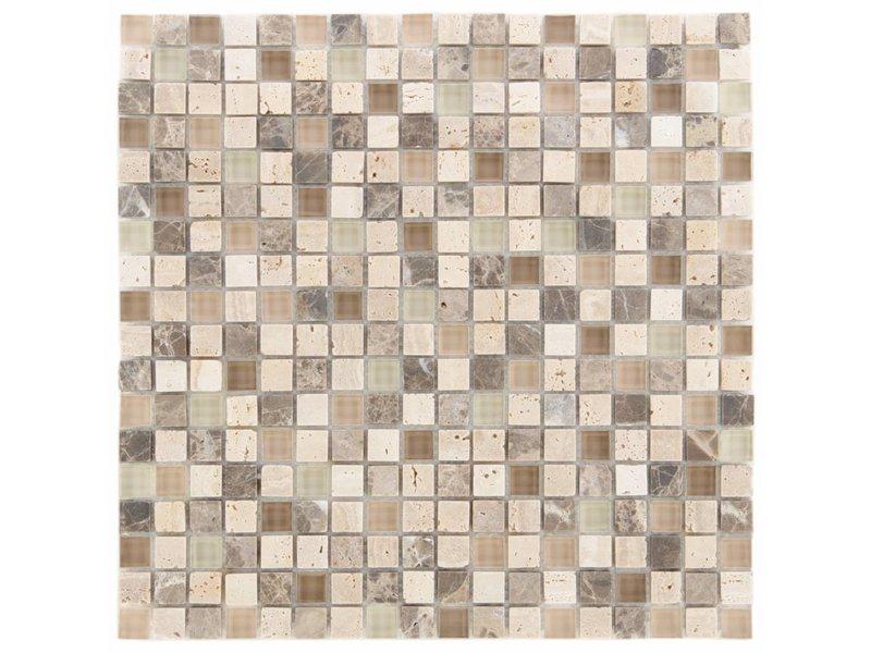 Mosaik Glas & Marmor  Combi Castanho 30 x 30 cm