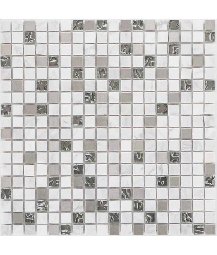 Mosaik Glas & Naturstein & Edelstahl Weiß Perlmutt - 30 cm x 30 cm