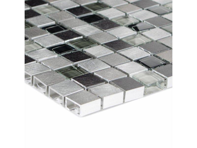 Mosaik Glas & Aluminium Cosmos Steel - 28,5 cm x 28,5 cm