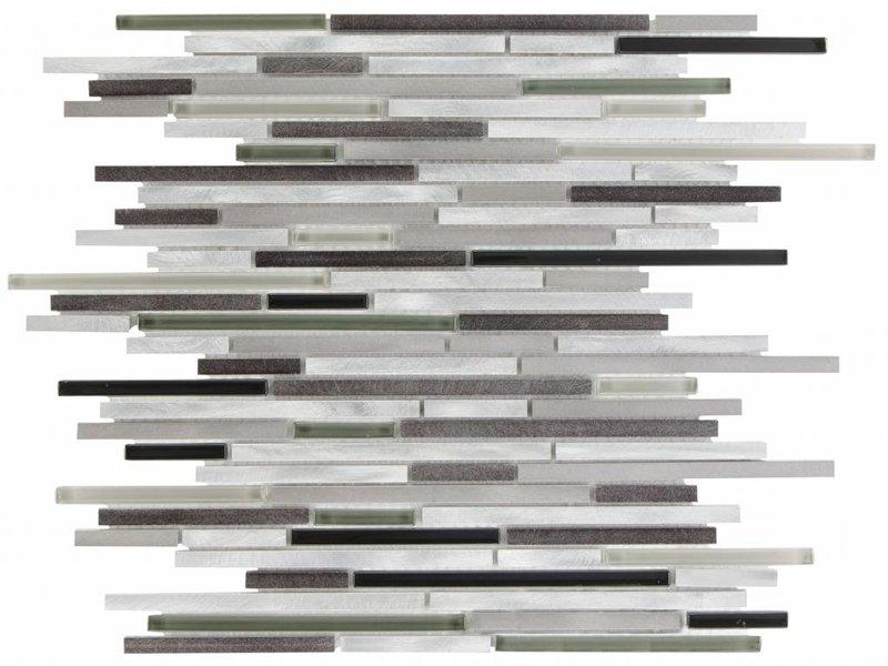 Mosaik Glas & Aluminium Cosmos Steel - 30 cm x 40,8 cm