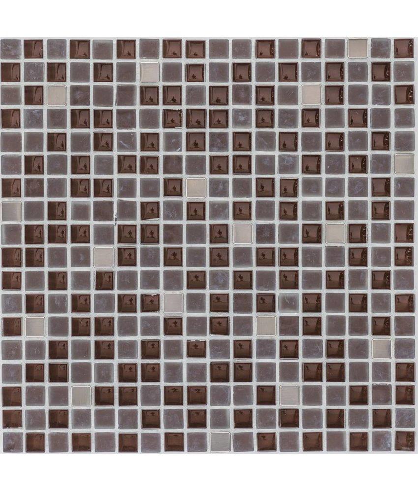 Mosaik Glas & Naturstein & Edelstahl Braun - 30,5 cm x 30,5 cm