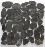 Naturstein Flusskieselmosaik Black Flat - 30 cm x 30 cm