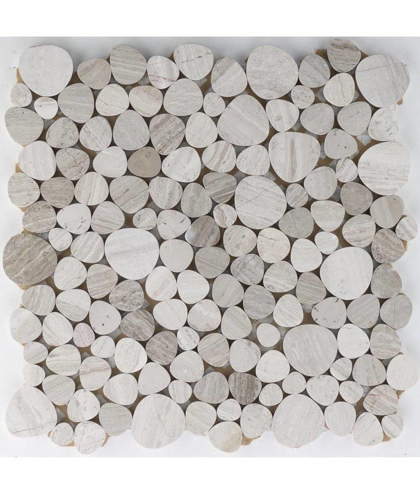 Naturstein Flusskieselmosaik Marmor Grau - 32 cm x 32 cm