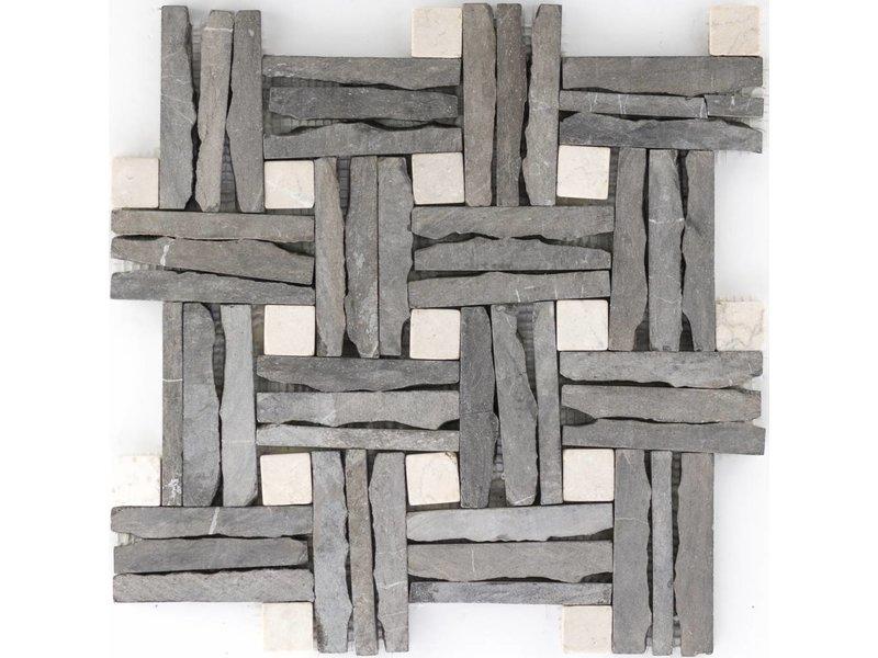 Mosaikfliese Schiefer & Marmor Beige - 30,5 cm x 30,5 cm