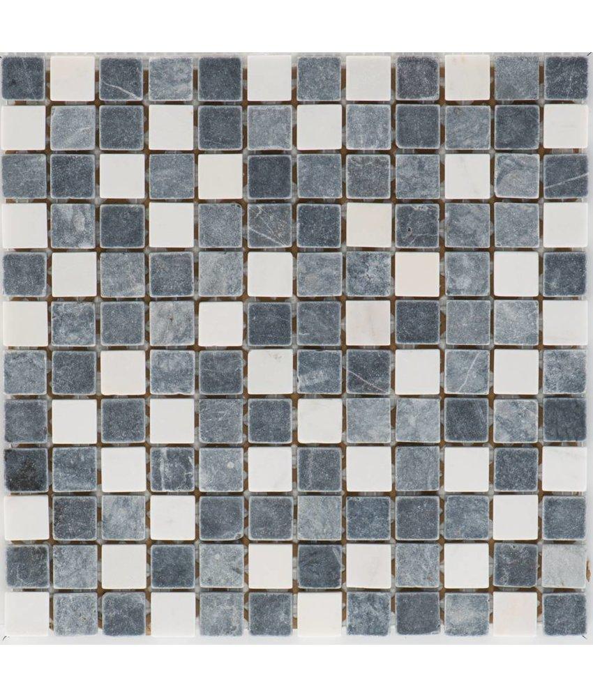 Mosaikfliese Naturstein Grau Weiß - 30 cm x 30 cm
