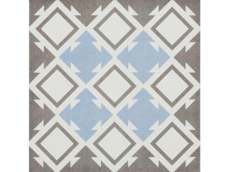 Bodenfliese Vintage Brügge Blau Dekor - 22,3 cm x 22,3 cm (9 Motive gemischt)