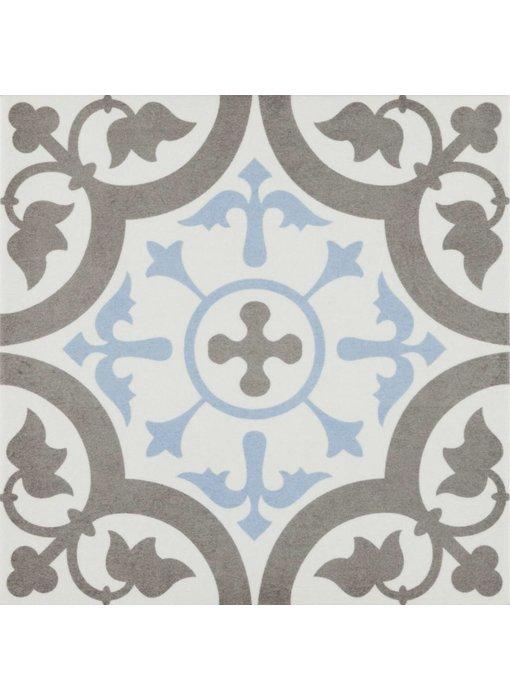 Bodenfliese Vintage Brügge Blau Dekor - 22,3 cm x 22,3 cm