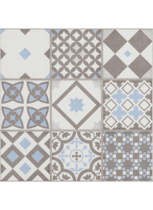 Bodenfliese Vintage Brügge Blau Mosaik - 22,3 cm x 22,3 cm
