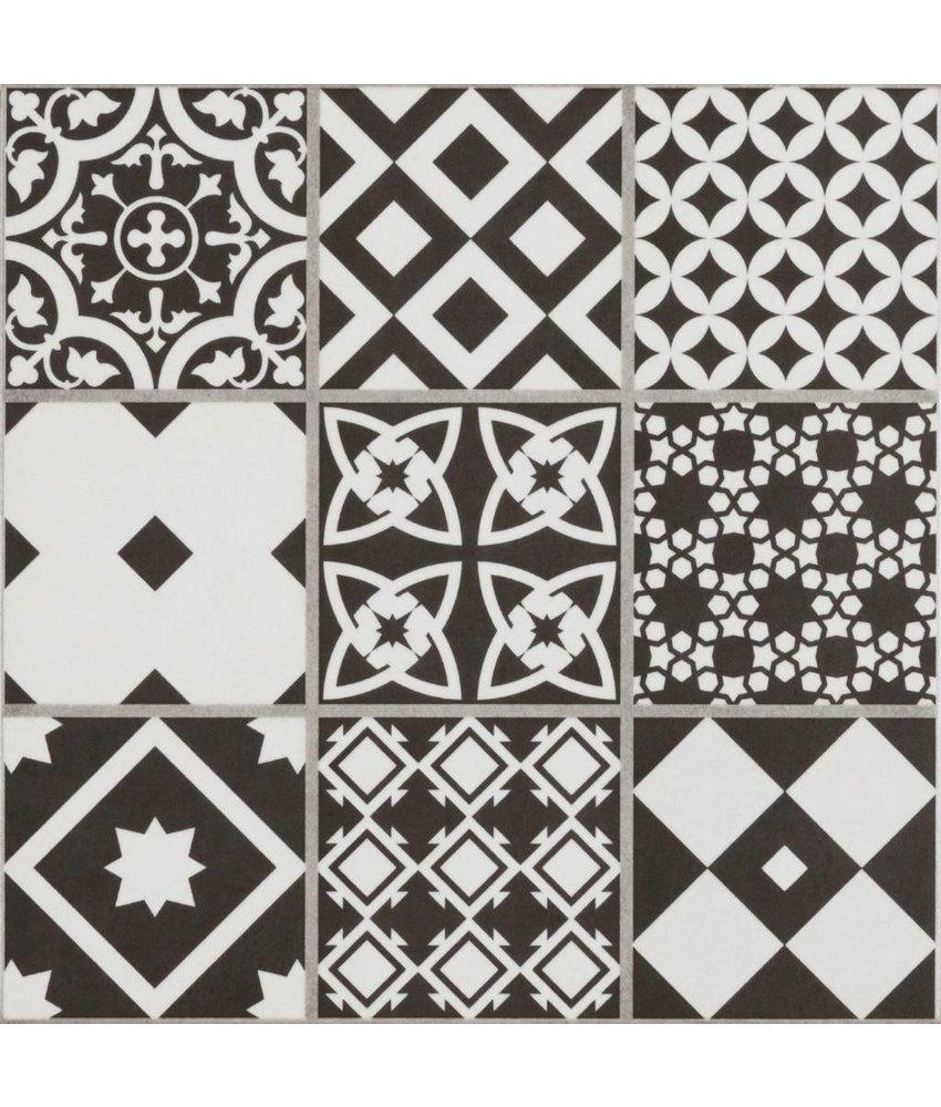 Bodenfliese Vintage Brügge Schwarz Mosaik - 22,3 cm x 22,3 cm