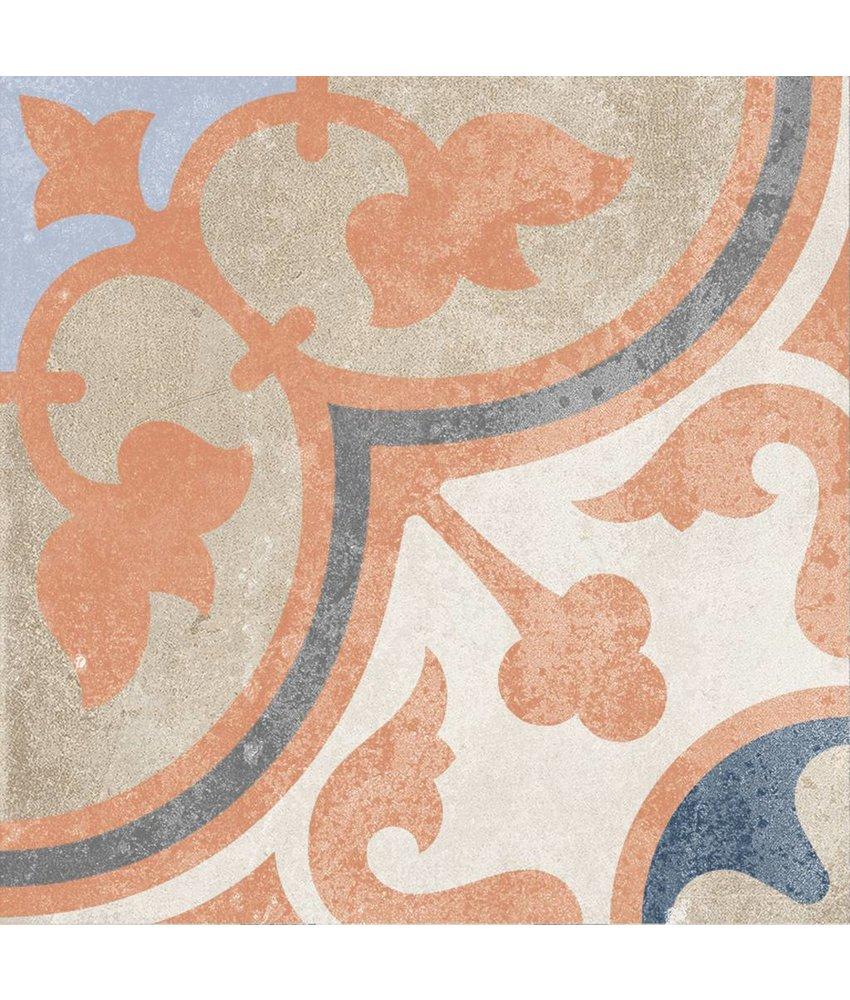 Bodenfliese Vintage Heidelberg Dekor 4 - 18,6 cm x 18,6 cm