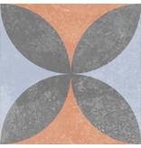 Bodenfliese Vintage Heidelberg Dekor 10 - 18,6 cm x 18,6 cm